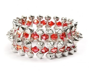 Spiky Rebel Stretchy Bracelet Punk Style Bangle Crystal Stackable everyday jewellery made in the UK