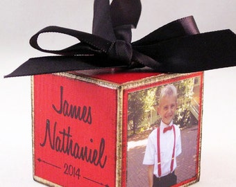 Personalized Kids Photo Block Ornament in Red, Custom Children's Ornament