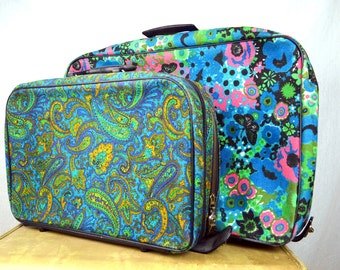 LOT OF TWOVintage 1960s Flower Power Mod Mini Floral Suitcase