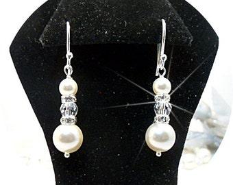 Ivory Pearl Earrings, Bridal Accessories, Rhinestone and Crystal Earrings, Dangle Earrings, Drop Earrings, Pearl Earrings, Bridal Jewelry