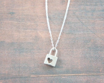Silver mini master lock pendant necklace, pad lock, love, Valentine's day, heart, key, lucky charm, gift for her