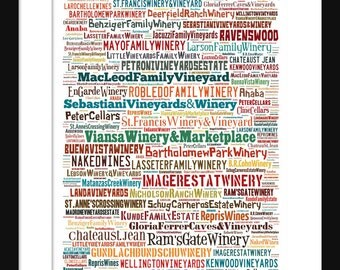 Sonoma Vineyards Wineries Print - Typography Neighborhoods of Print