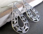 Teardrop Earrings, Antique Silver Filigree Earrings, Vintage Inspired Earrings - LACE TEARS