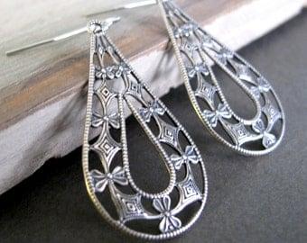 Teardrop Earrings, Antique Silver Filigree Earrings, Vintage Inspired Earrings - LACE TEARS