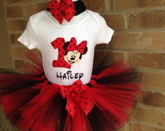 Custom Boutique Monogrammed Personalized Red/black  Minnie Mouse Birthday Tutu set