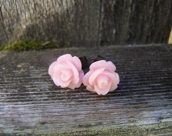 Pretty Light Pink Rose Post Earrings
