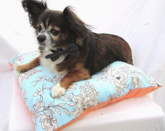 SALE-Pet Dog Pillow Bed- Floral Blue and Peach Flannel