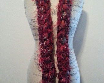 One of a Kind Hand Knotted Fashion Scarf in Red Colorway