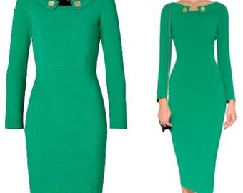 pencil classy dress with gold buttons custom made