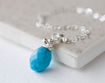 Turquoise Pendant Sterling Silver / Delicate Turquoise Necklace / Small Turquoise Necklace / Blue Gemstone Pendant / Gemstone Necklace