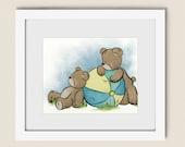 Blue Boys Nursery Wall Art, Teddy Bear Childrens Art Print, 8 x 10 Baby Girls Room Decor (342)