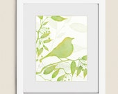 11 x 14 Bird Art Print, Yellow and Green Living Room Decor, Lime Green Bathroom or Bedroom Wall Art  (228)