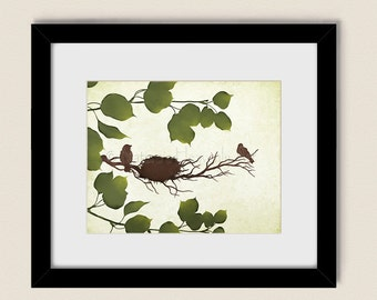 Spring Bird Nest in Tree Wall Art, Earthy Brown Décor 11 x 14 Print, Nature Green Leaves, Tree Branches (199)