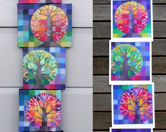Little Trees Growing - a set of five digital prints, colourful rainbow spectrum trees with handpainted gold lights