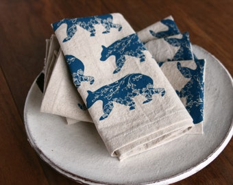 Cloth Napkins, Hand Printed Bears in Blue, Set of 4 Natural Linen / Cotton Blend