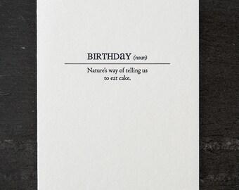 birthday definition. letterpress card. #150