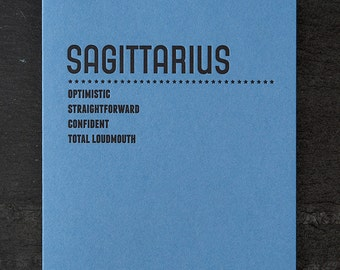 sagittarius. letterpress card. #218