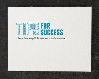 autocorrect. letterpress card. #125