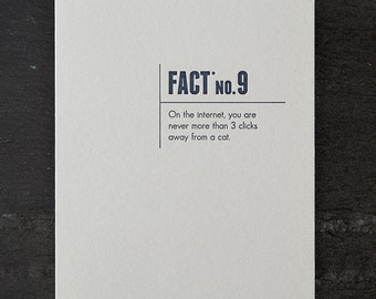 cats. made up stats. letterpress card. #340