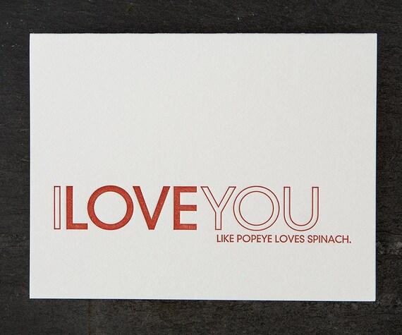 like popeye loves spinach letterpress card. #456