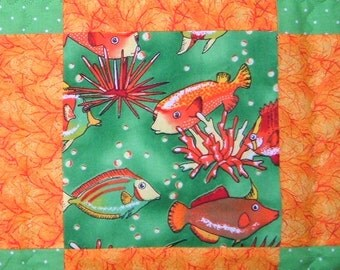 Colorful Tropical Fish Baby Quilt in Green and Orange for Boys or Girls