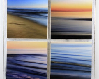 Beach Sunset, Abstract Seascapes, Bright Color, Blue, Orange, Seashore Decor, 18X18 Square Art, Ready to Hang, Modern Wall Decor