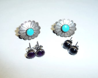 Southwest Style Sterling Silver Turquoise and Interchangeable Gems Earrings on Etsy