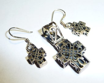 Vintage Chunky Sterling Silver Celtic Cross Pendant and Earrings Set on Etsy