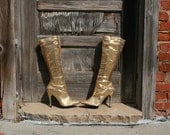 Vintage Gold Sequined Costume Boots - Size 8 - Tall Knee High - Stiletto Heel - Halloween Costume