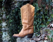 Womens 7 1/2 Vintage 70s Cowboy Boots Boho Cowgirl Campus Style Tall Golden Brown Leather Knee High Designer