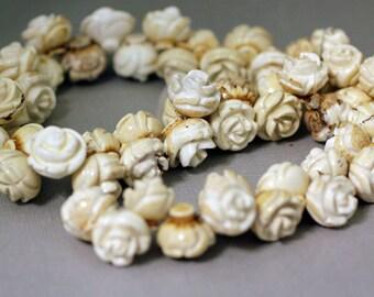 Magnite Rose Beads - Semi-precious flower beads - Destash