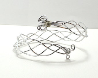 Braided Silver Metal Armband- costume arm cuff - sample sale