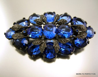 Art Deco Czech Blue Glass Brooch with Silvery Leaves