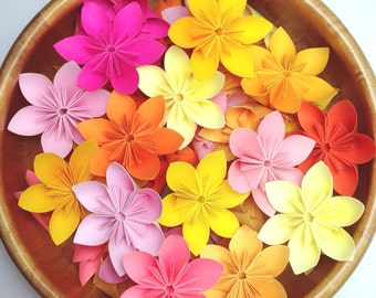 100 pcs Origami Flowers - Pink Yellow and Orange