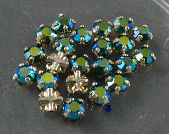 Vintage Rose Montee 3.75mm Sew Ons -  Sparkly Blue Greeen/Silver Setting