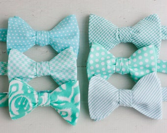 """The Beau- men's mint collection freestyle bow ties- comes with """"tying instructions"""""""