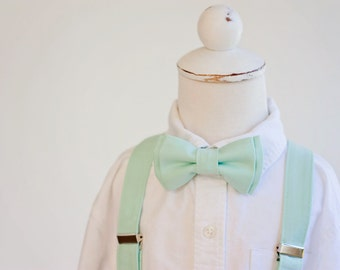 Custom Listing For Ashley - Boy's Mint Bow Tie and Suspender Set, Baby Bow Tie, Baby Suspenders, Bowties, Boy's Bow Ties