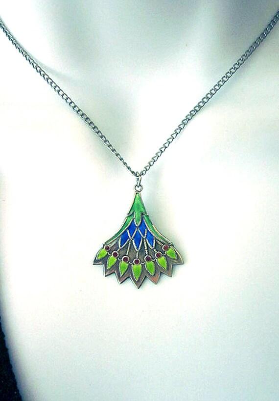 Vintage Enamel Pendant Necklace-Peacock Feather Enamel Jewelry