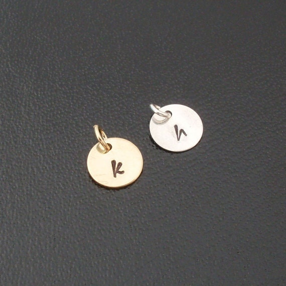 Add an Initial Charm to Any Bangle You Order  - Sterling Silver or Gold Tone Brass