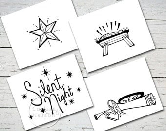 Silent Night Printable Christmas Nativity Card Set of 4 - Instant Download