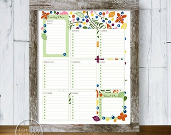 Planner Berries Ferns Flowers - Weekly Printable