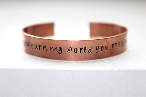 Labyrinth Movie Quote, How You Turn My World You Precious Thing, Labyrinth Jewelry, Labyrinth Bracelet, Copper