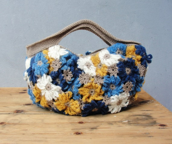 Crazy Daisy - Crochetted Mohair Puffy Happy Sunny Bag