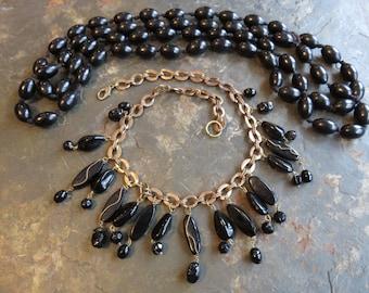 Vintage black necklaces  long wood beads  black glass bib necklace
