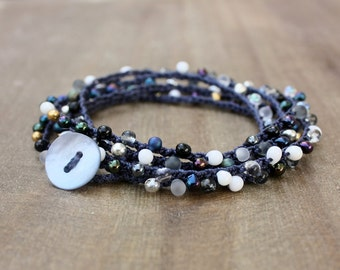 JULY SALE 50% Off - Midnight Blue Silver Gold Gray Bead Crochet Wrap Bracelet Necklace, Crochet Jewelry - GALAXY