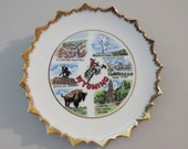 Vintage 1960s State Plate - Wyoming - Collector Plate - Wall Decor - Souvenir - IAAC Ceramics Label