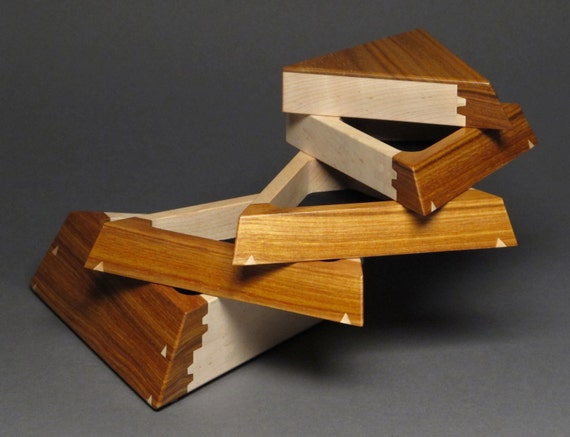 Handcrafted Canarywood Jewelry Box with Secret Compartment and Weighted Base, 'The Trapezoid Box'