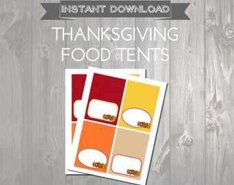 Printable Thanksgiving Food Tents- Food Labels - Thanksgiving Buffet Cards - Thanksgiving Labels - Instant Download - Gobble Labels