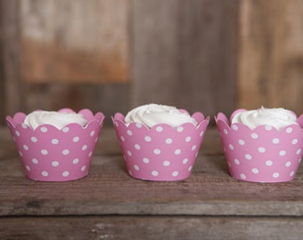 12 Light Pink Polka Dot REVERSIBLE Cupcake Wrappers - Solid Pink & Polka Dot Cupcake Wrappers 2 in 1! Perfect for Birthdays and Weddings