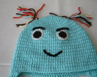 3-6 months crochet baby hat blue braided  girls boys children smily face  character cotton baby shower birthday xmasgift idea